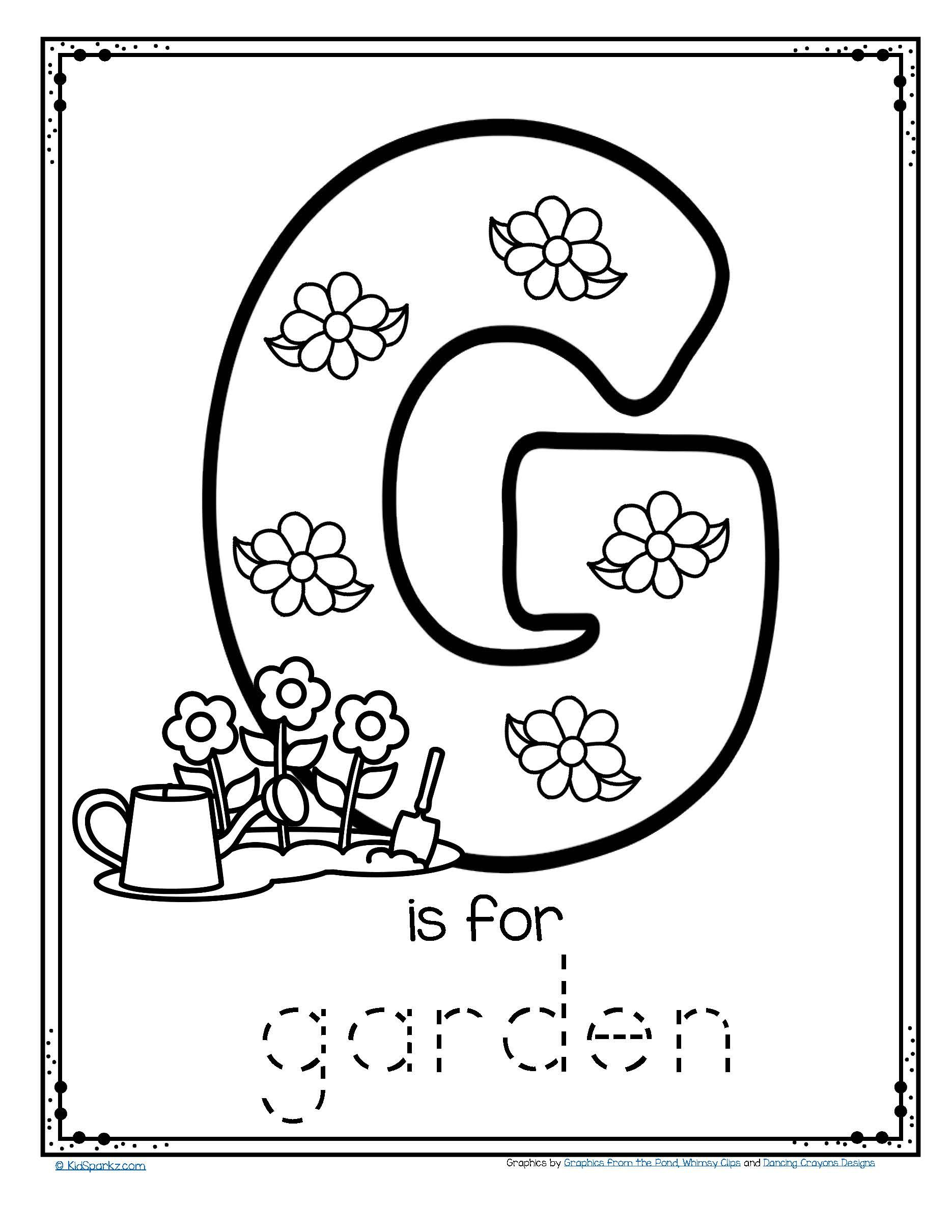Free g is for garden trace and color fine motor printable alphabet
