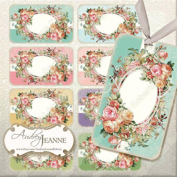 Instant Download Vintage Roses Digital Collage Sheet Ajr