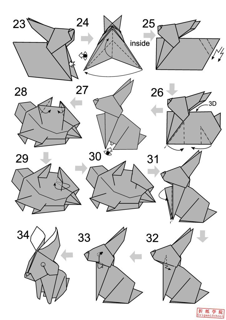 Step By Picture Instructions On How To Fold An Origami Rabbit From
