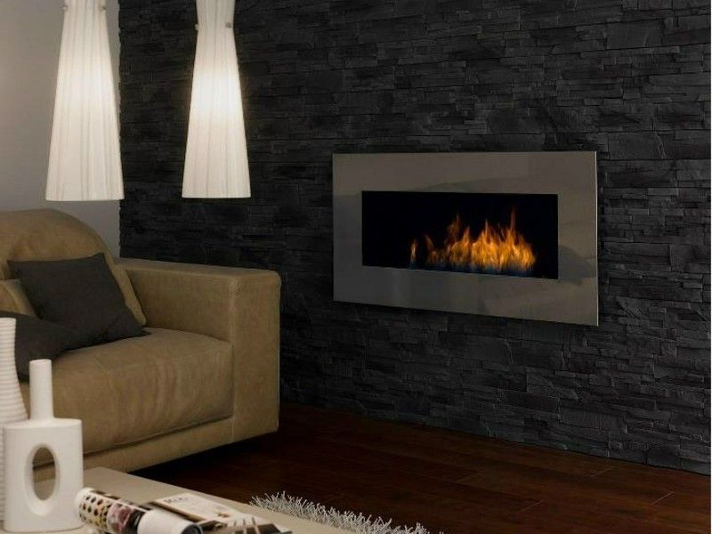 Salones con chimenea modernos pared piedra negra ideas - Salon de piedra ...