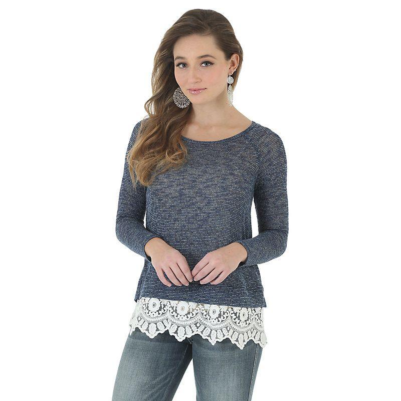 Wrangler Women's Long Sleeve Sweater Knit Flyaway Chiffon Back Shirt (Size: Medium) Blue