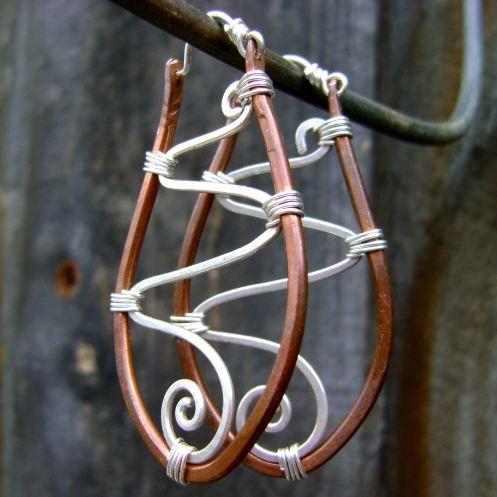 Raindrop Copper Silver Hoop Earrings hanging