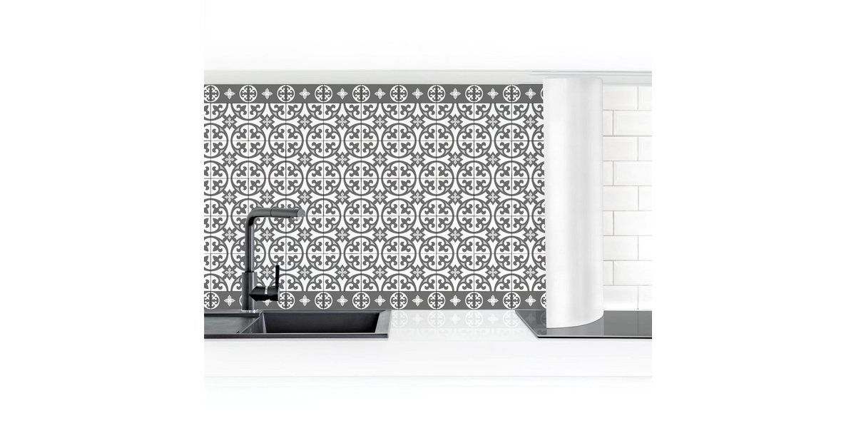 Photo of Bilderwelten Küchenrückwand »Geometrischer Fliesenmix Kreise Grau« online kaufen   OTTO