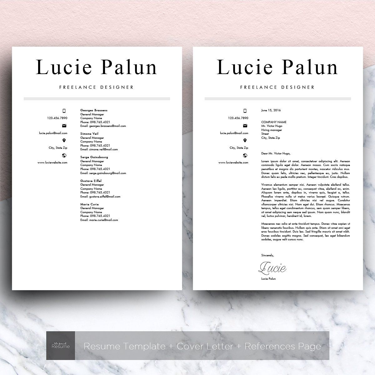 Modern CV (MS Word) | Lucie by The.French.Resume on @creativemarket ...