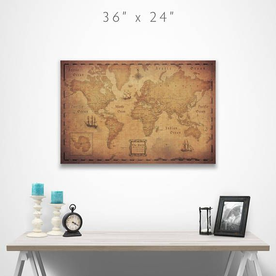 World map travel pin board antique aged cork push pin canvas home world map travel pin board antique aged cork push pin canvas gumiabroncs Choice Image