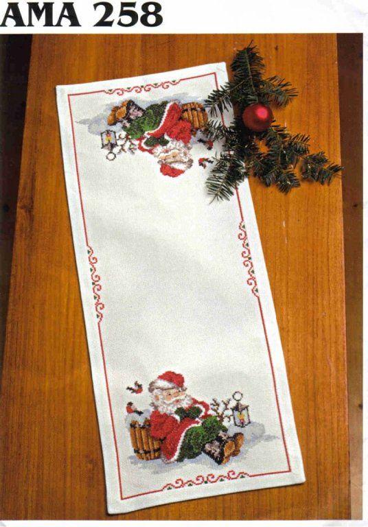 Manteles de navidad cross stitch navidad and stitch - Manteles para navidad ...