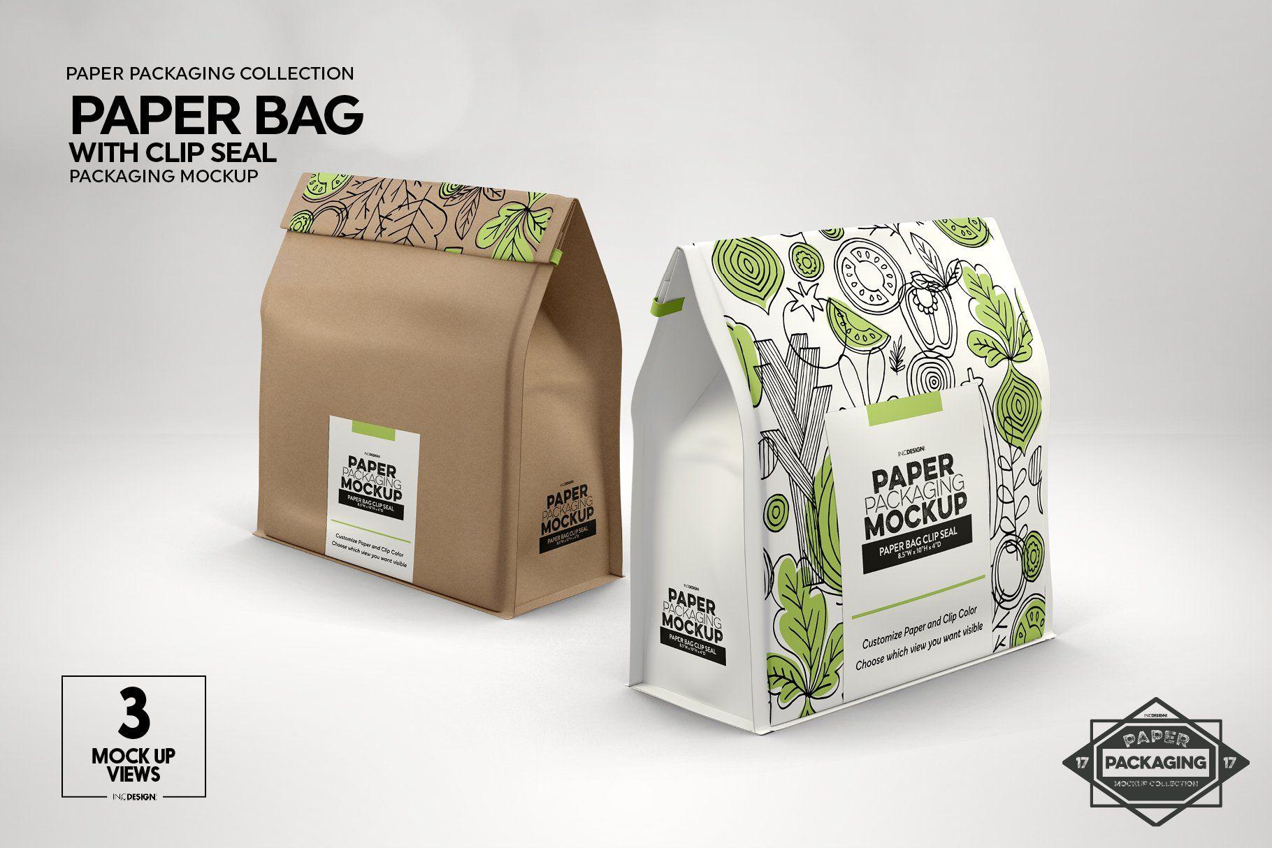 Download Paper Bags With Clip Seals Packaging Mockup 338560 Branding Design Bundles Packaging Mockup Free Packaging Mockup Paper Bag