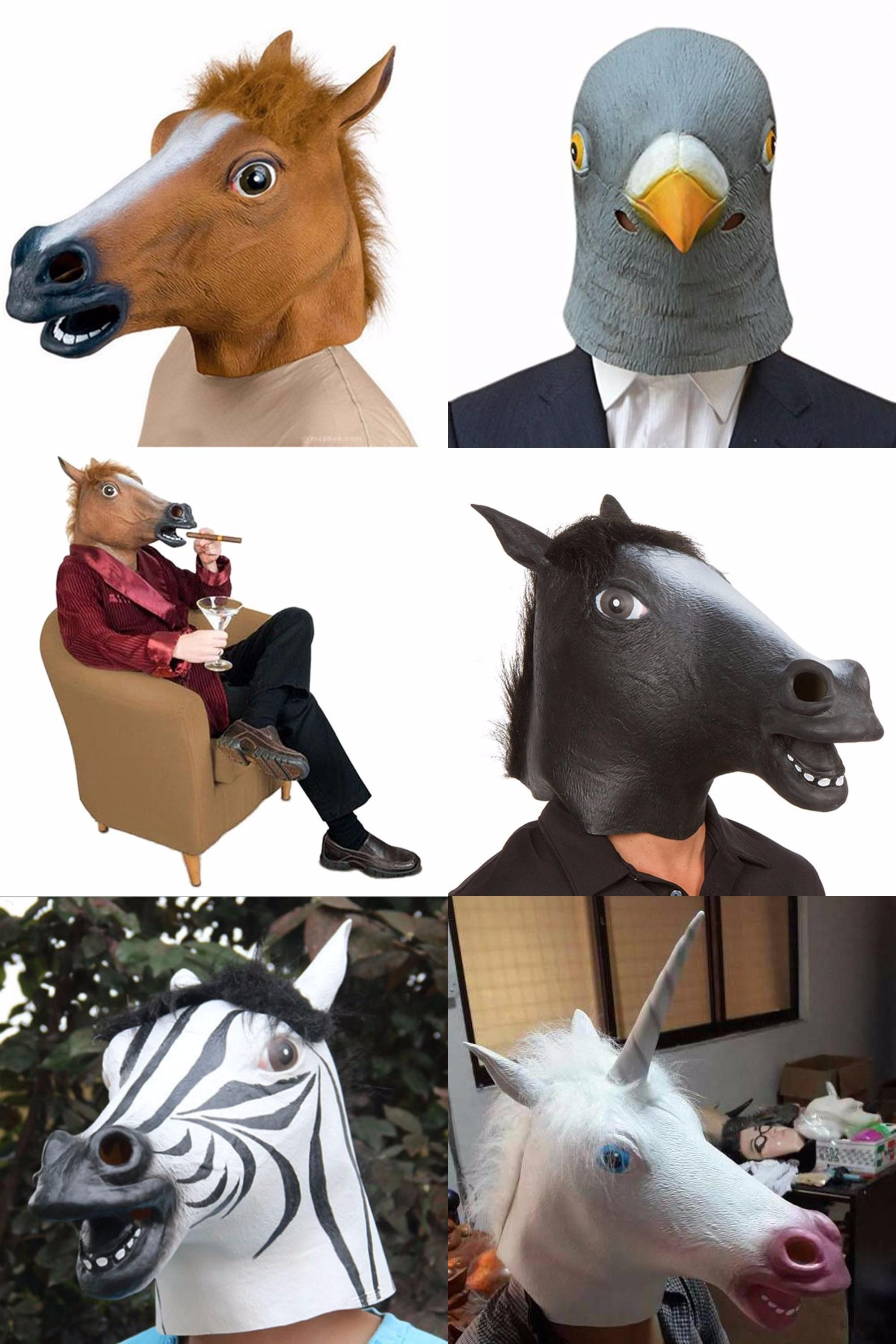 Visit to Buy] Creepy Unicorn Horse Animal's Head Latex Mask ...