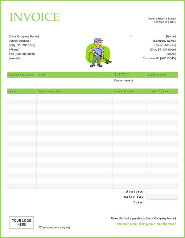 printable cleaning service receipts Cleaning Invoice Template - blank service invoice