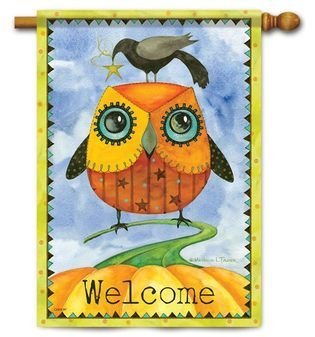 Autumn Owl House Flag 28 X 40 2 Sided Message Owl Garden Flag House Flags Flag Decor