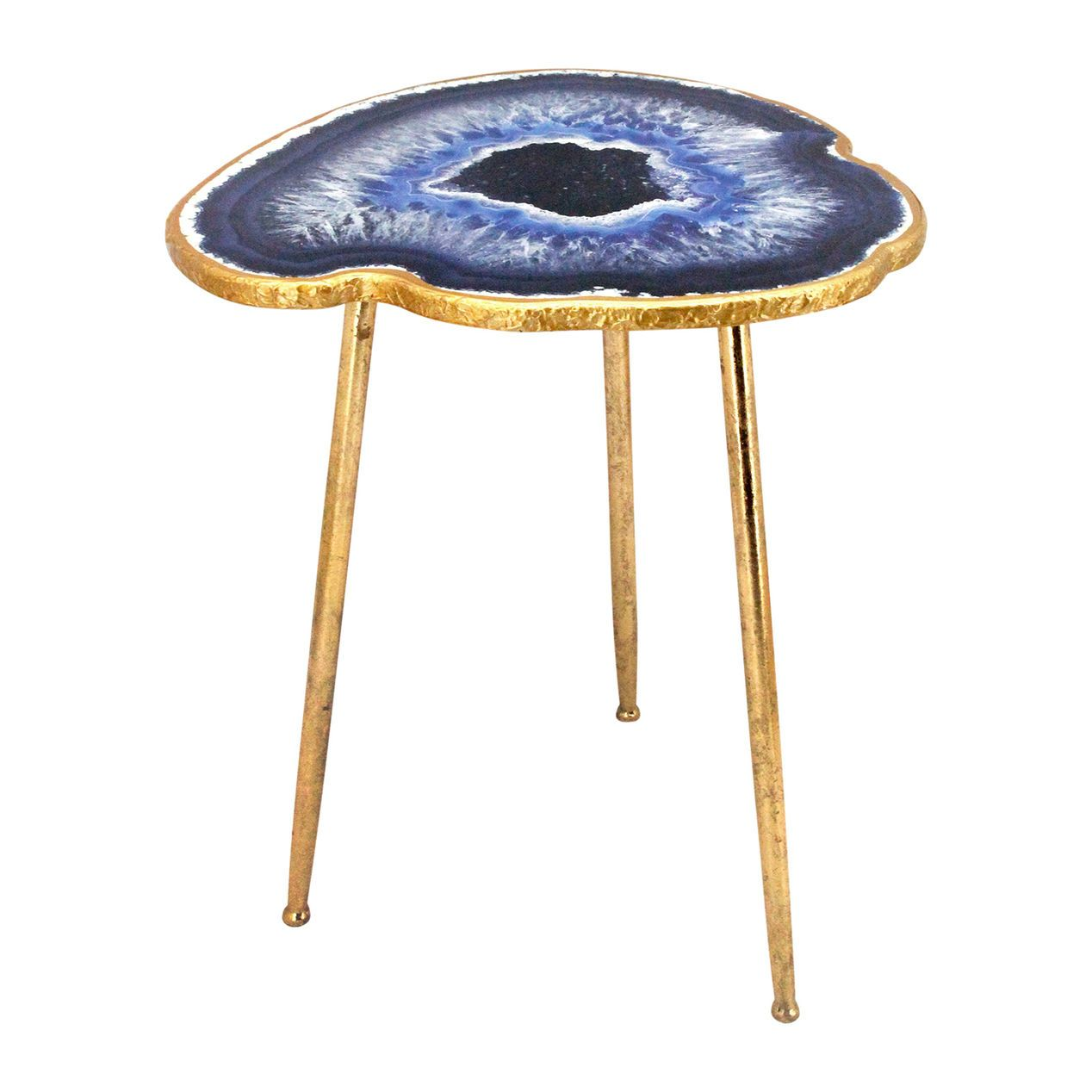 Exceptionnel Gold Metal Agate Table   Blue   At Home