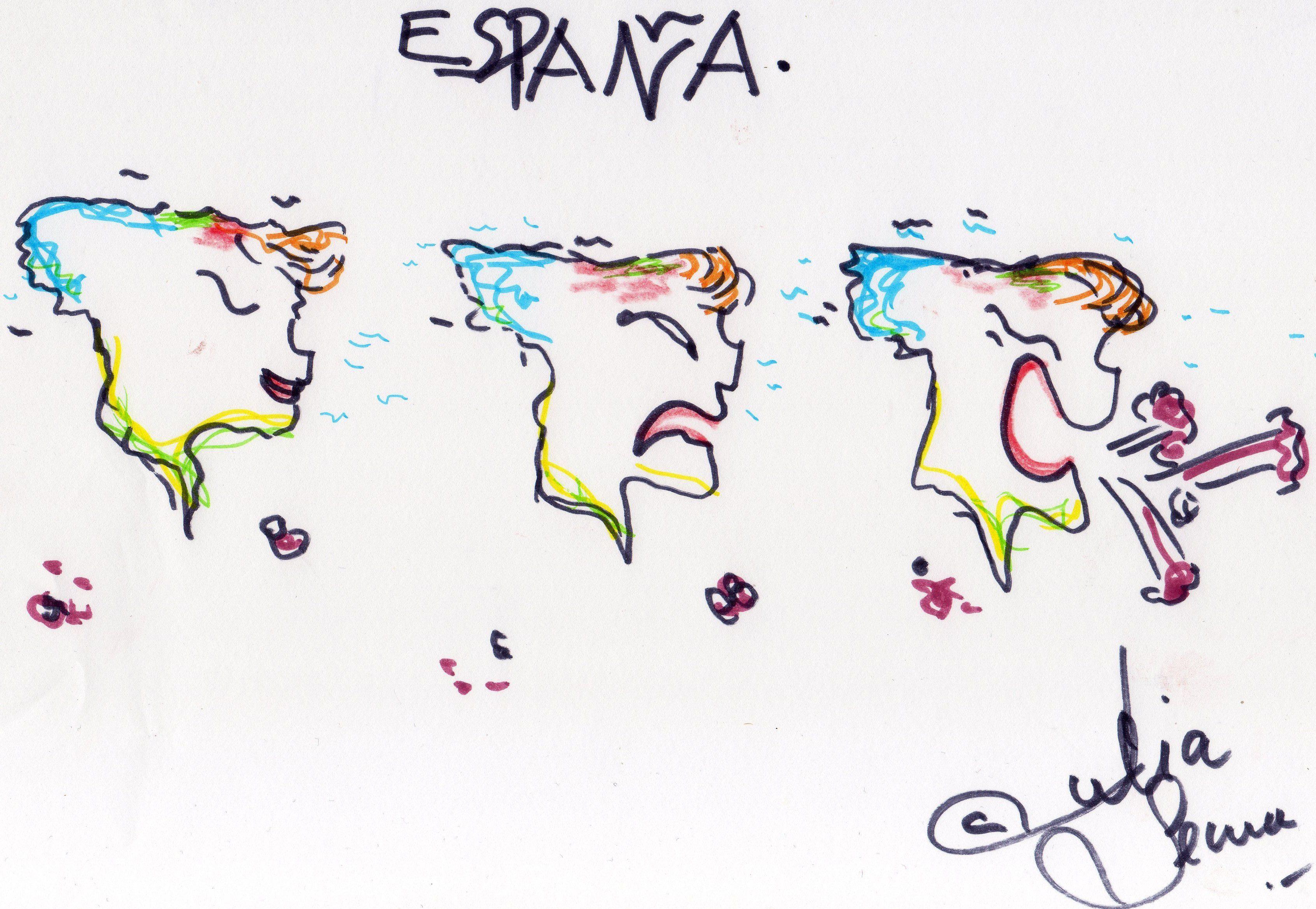España grita. Tinta, rotuladores