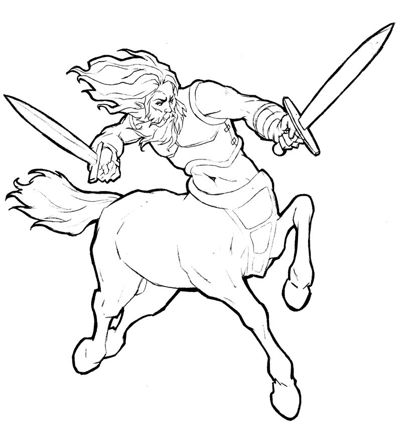 Line art of centaurs bing images coloring pages for adults Warrior Coloring Pages Centaur's Rainbow and Unicorn Coloring Pages Centaur Black and White