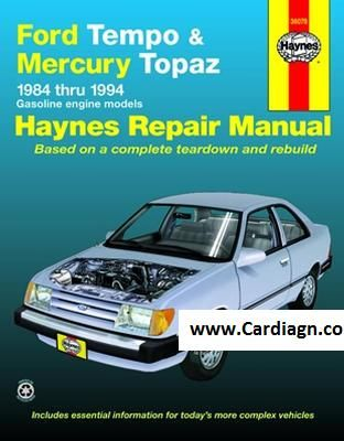 Ford Tempo And Mercury Topaz Haynes Repair Manual Pdf Auto