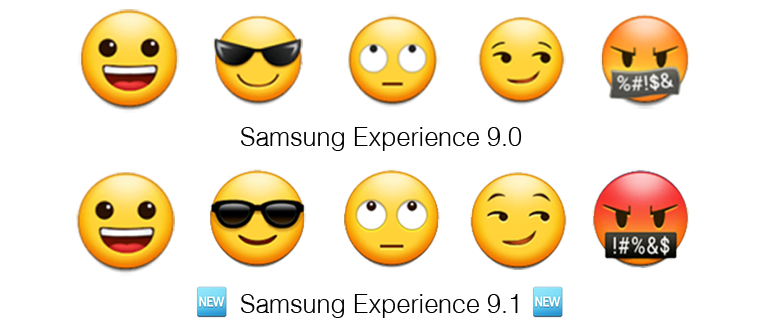 Samsung Experience 9 1 Update Brings Improved And Redesign Emoji Samsung Emoji Set Emoji