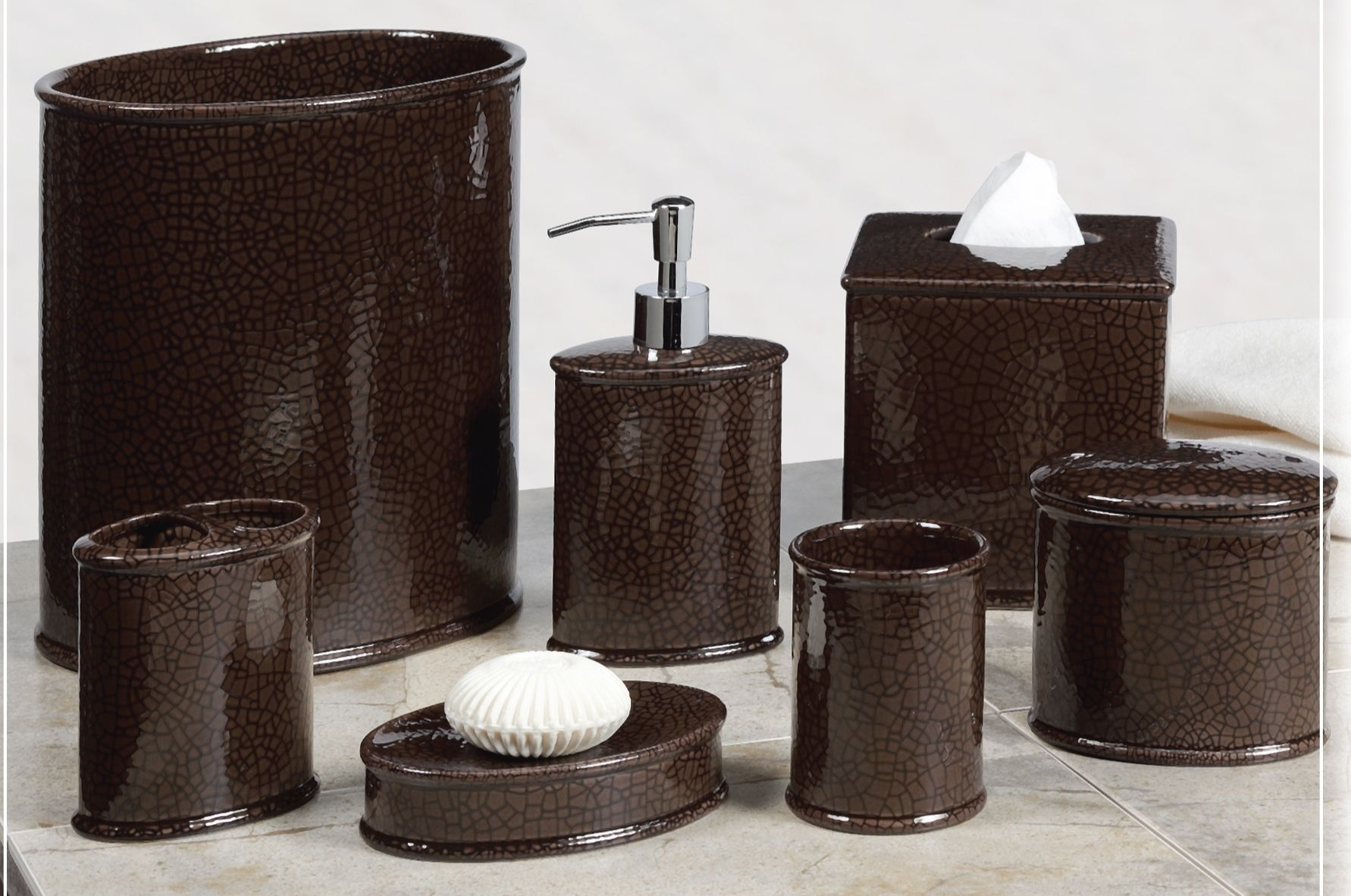 Bathaccessories Creative Bath Crackle Brown Ceramic Bathroom