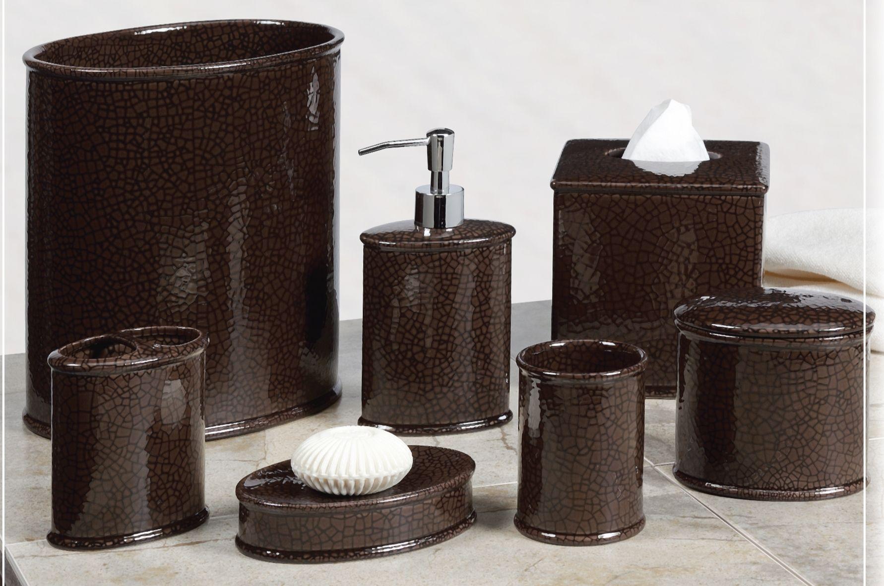 Creative Bath Crackle Chocolate Brown Ceramic Accessory Set 20