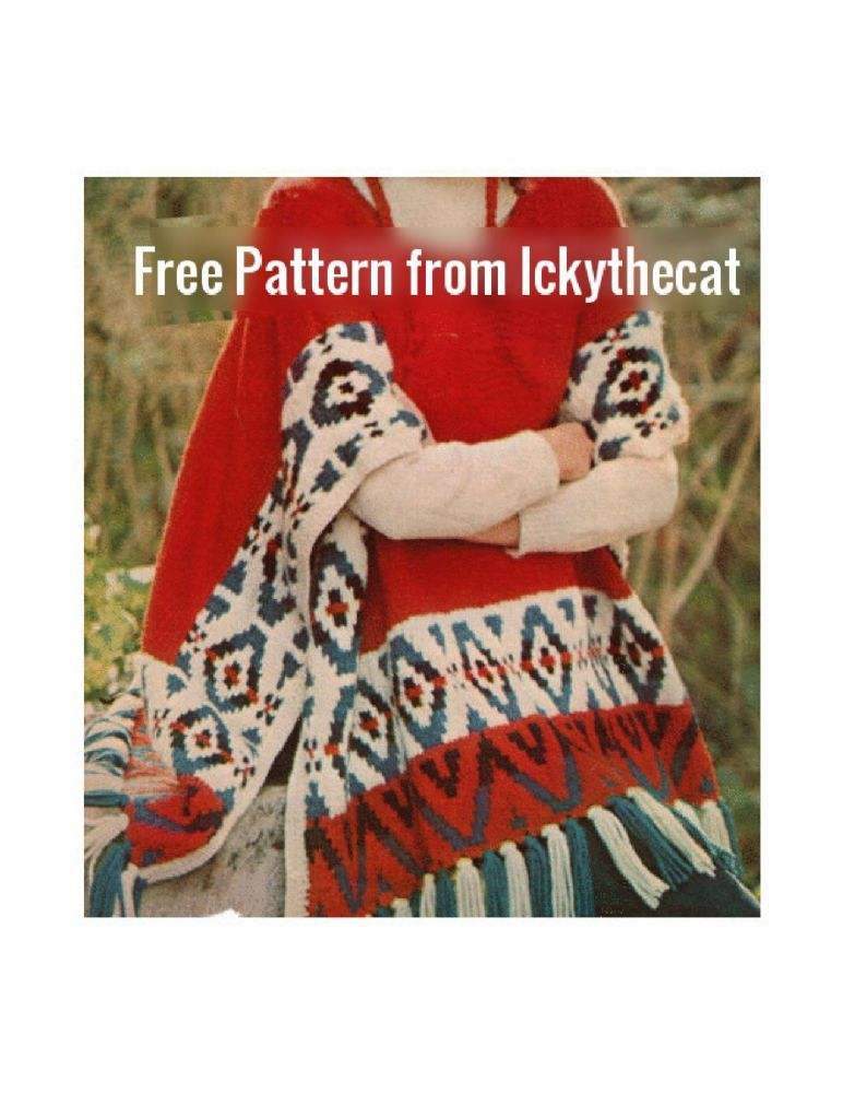 Free Pdf Digital Vintage Knitting Pattern Ladies Aztec Free Poncho