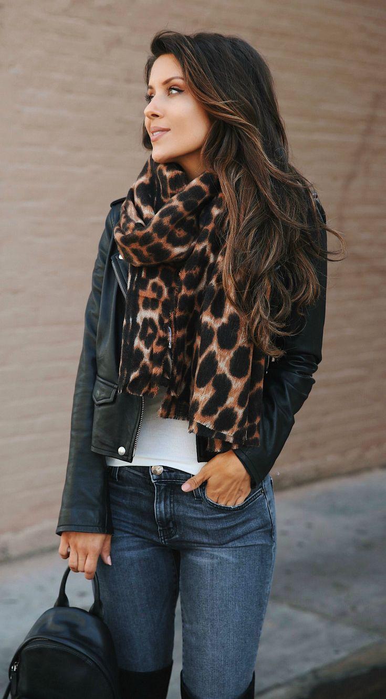 Leopard Print + Leather Jacket  (via @andeelayne) #fallstyle #leatherjacketoutfit
