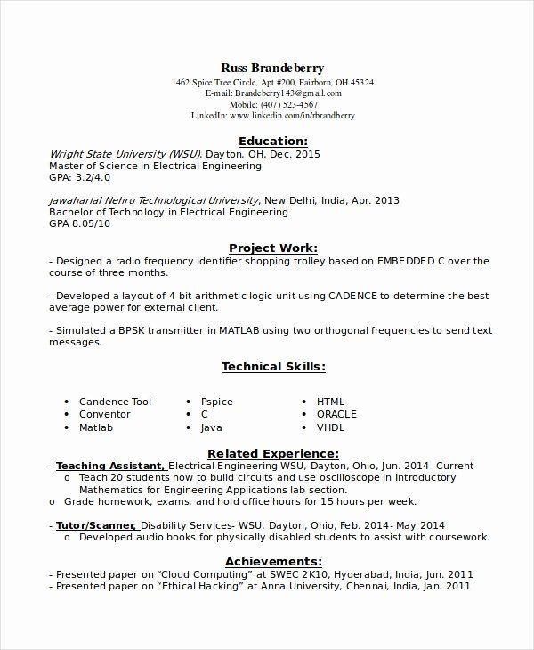 Entry Level Electrical Engineer Resume Inspirational 9 Entry Level Resume Examples Pdf Doc In 2020 Entry Level Resume Engineering Resume Resume Examples