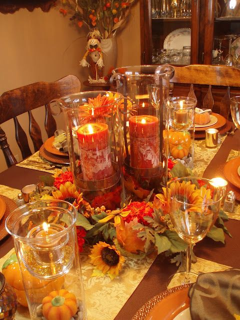 Thanksgiving table with partylite product :) #thanksgivingdecorations