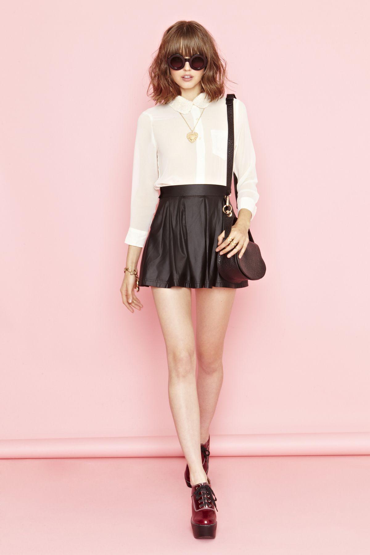 Varsity Moto Skirt and Corrine Crochet blouse