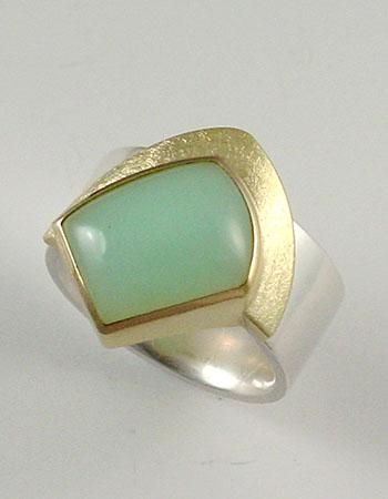 Janis Kerman: , Ring in sterling silver and 18k gold with Peruvian opal. Size 10.25. 10mm-22mm width.