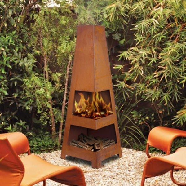 Sahara OUTDOOR Rust FIREPIT Chiminea Backyard Fireplace