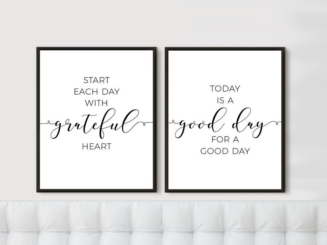 Wall Prints Set Of 2 Inspirational Quotes Bedroom Decor Over The Bed Signs Start Each Day With Grateful Heart T Motivational Wall Art Quote Prints Wall Prints