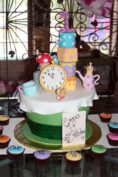 The Mad Hatter's tea party birthday cake
