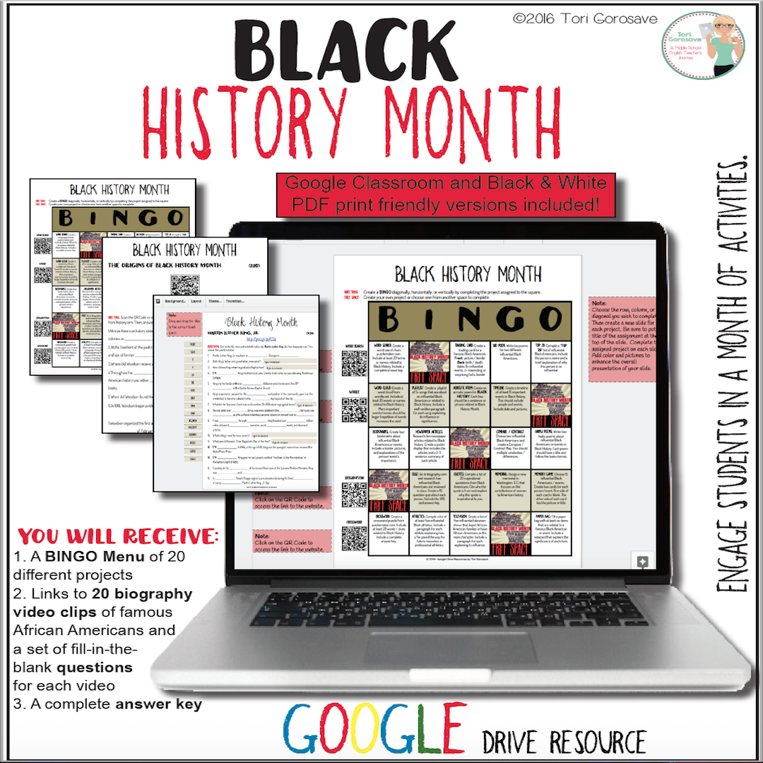 Black History Month Video Notes Amp Bingo Menu Board