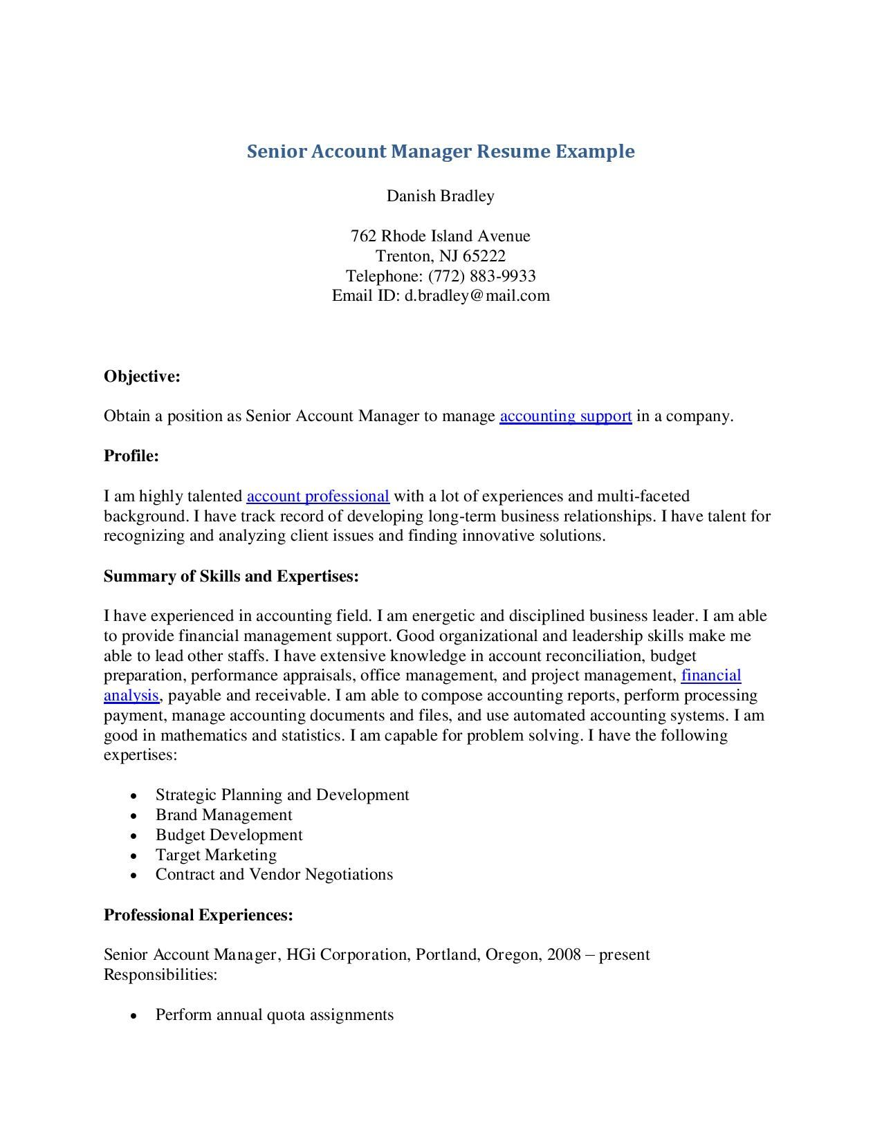 Account Manager Resume Senior Account Manager Resume Example  Senior Account Manager