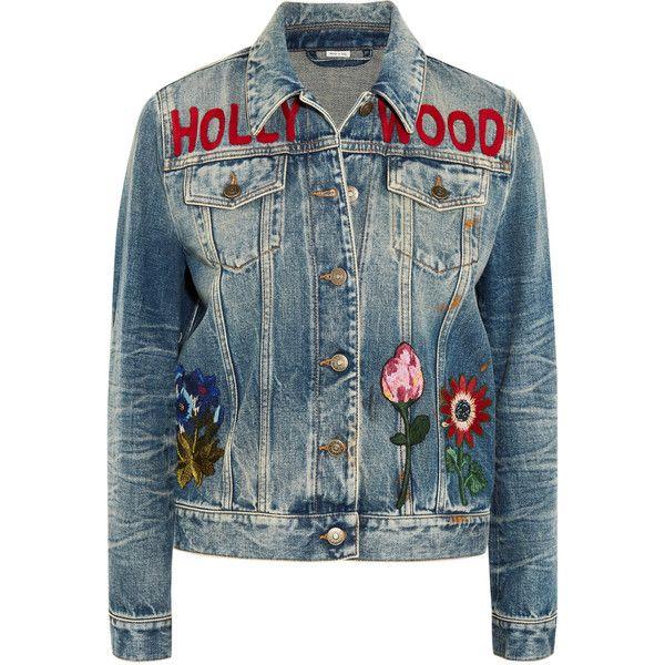 79187e91e0d6 Gucci Embroidered denim jacket (8.970 BRL) via Polyvore featuring  outerwear, jackets, light denim, jean jackets, blue floral jacket,  embroidered jean jacket ...