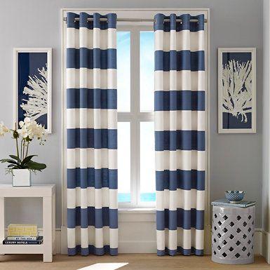 Cabana Stripe Cadet Curtain Panel Set - Admiral Blue/indigo/cadet ...