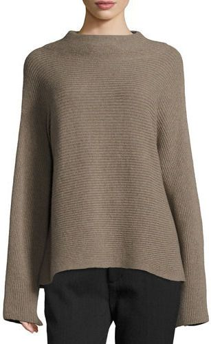 Vince Ribbed Wool-Cashmere Funnel-Neck Sweater - Vince oversized ...