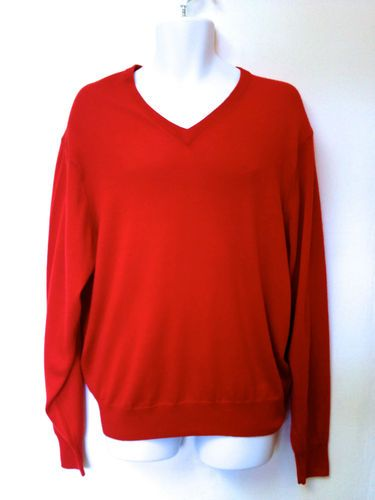 New Jos A Bank Mens Red V Neck 100 Merino Wool Long Sleeve Sweater L | eBay