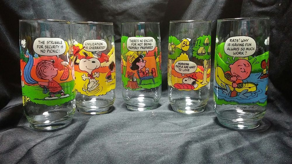 9e8a78c3eb McDonalds Peanuts Camp Snoopy Collection Glasses Complete Set of 5 ...