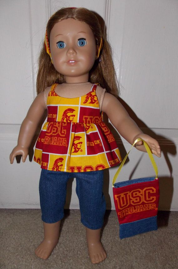New Handmade USC Trojans Capri Jeans Outfit with by SewbyJen, $12.99