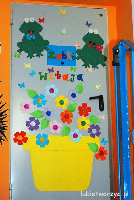 Kwiatki W Doniczce Dekoracja Drzwi Przedszkolnej Sali Dydaktycznej Door Decorations Nursery School Kindergarten