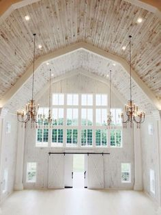 Such a beautiful, elegant, white barn! (Wedding venue, home, etc)