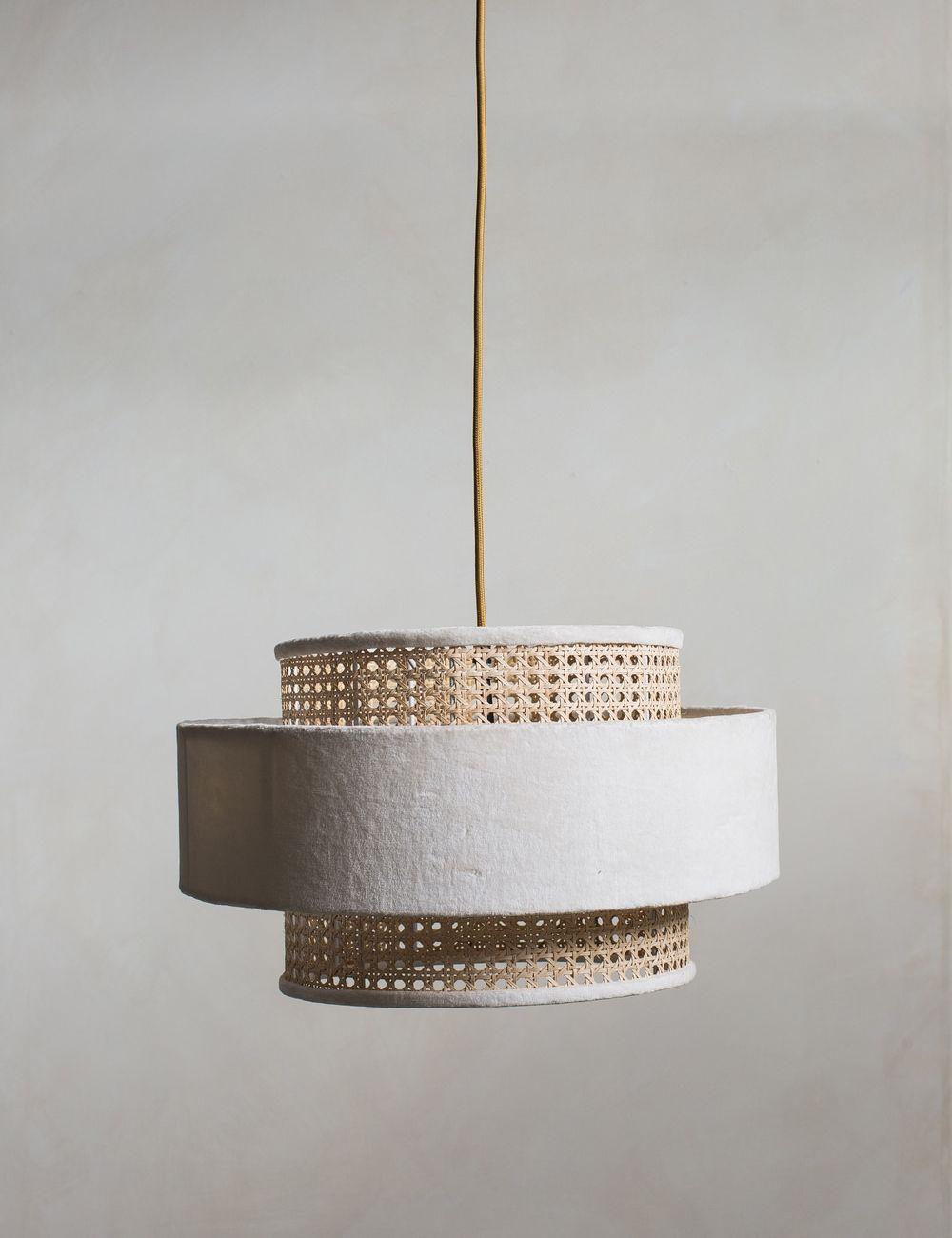 Velvet & Bamboo Pendant Lamp Shade - White
