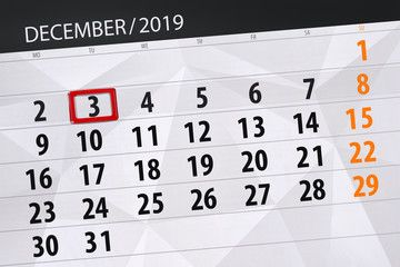 Photo of Calendar planner for the month december 2019, deadline day, 3, tuesday , #Ad, #m…