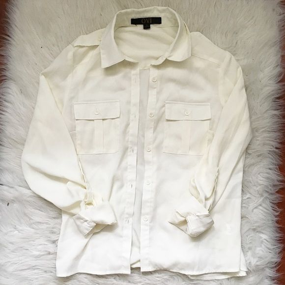 White Chiffon Button Down Can easily be dressed up or down. More of a cream/off white color. Minimalist style. Ovi Tops Button Down Shirts