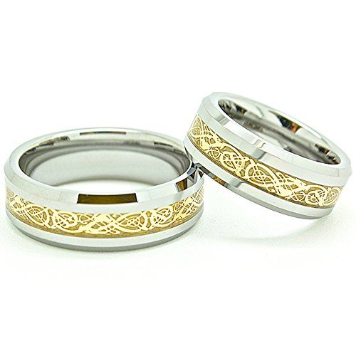 Blue Chip Unlimited Matching 7mm Tungsten Golden Colored Celtic