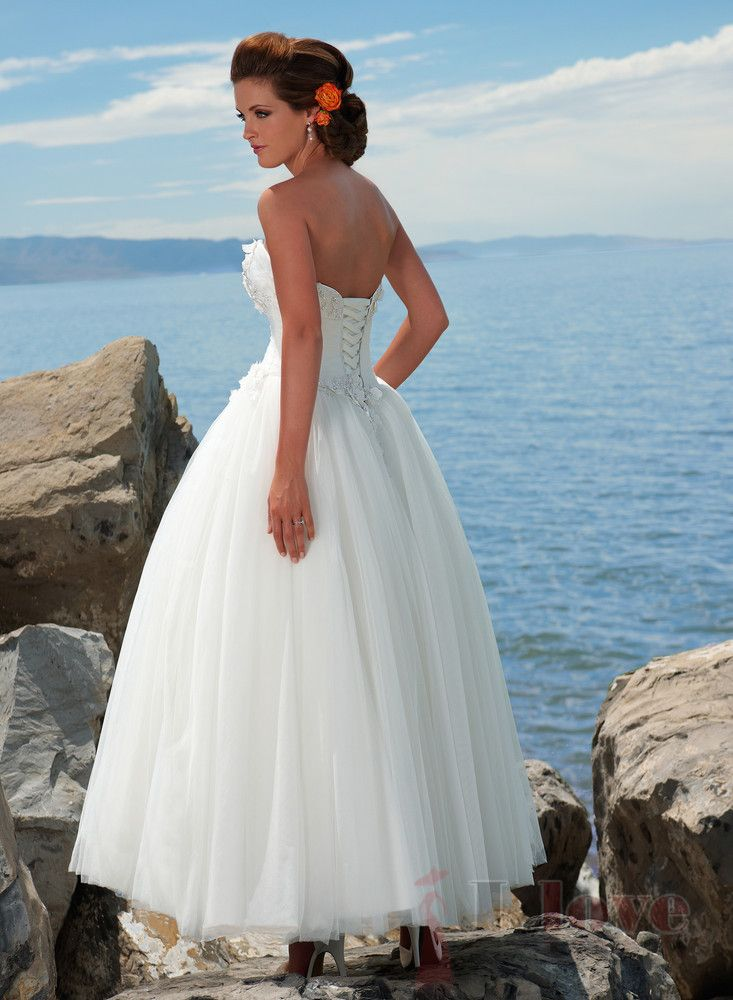 A-line Sweetheart Ankel-length Satin Tulle Destination Wedding Dress - £135.35