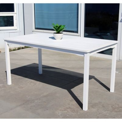 Vifah Bradley Rectangular Outdoor Dining Table In White Patio