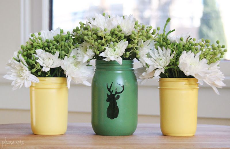 Please Note Diy Mason Jar Vases With The Fleur De Lis And Wedding