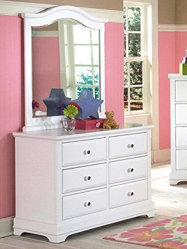 Youth Home Room: NCF Furniture Beatrice Youth Dresser With Mirror In White