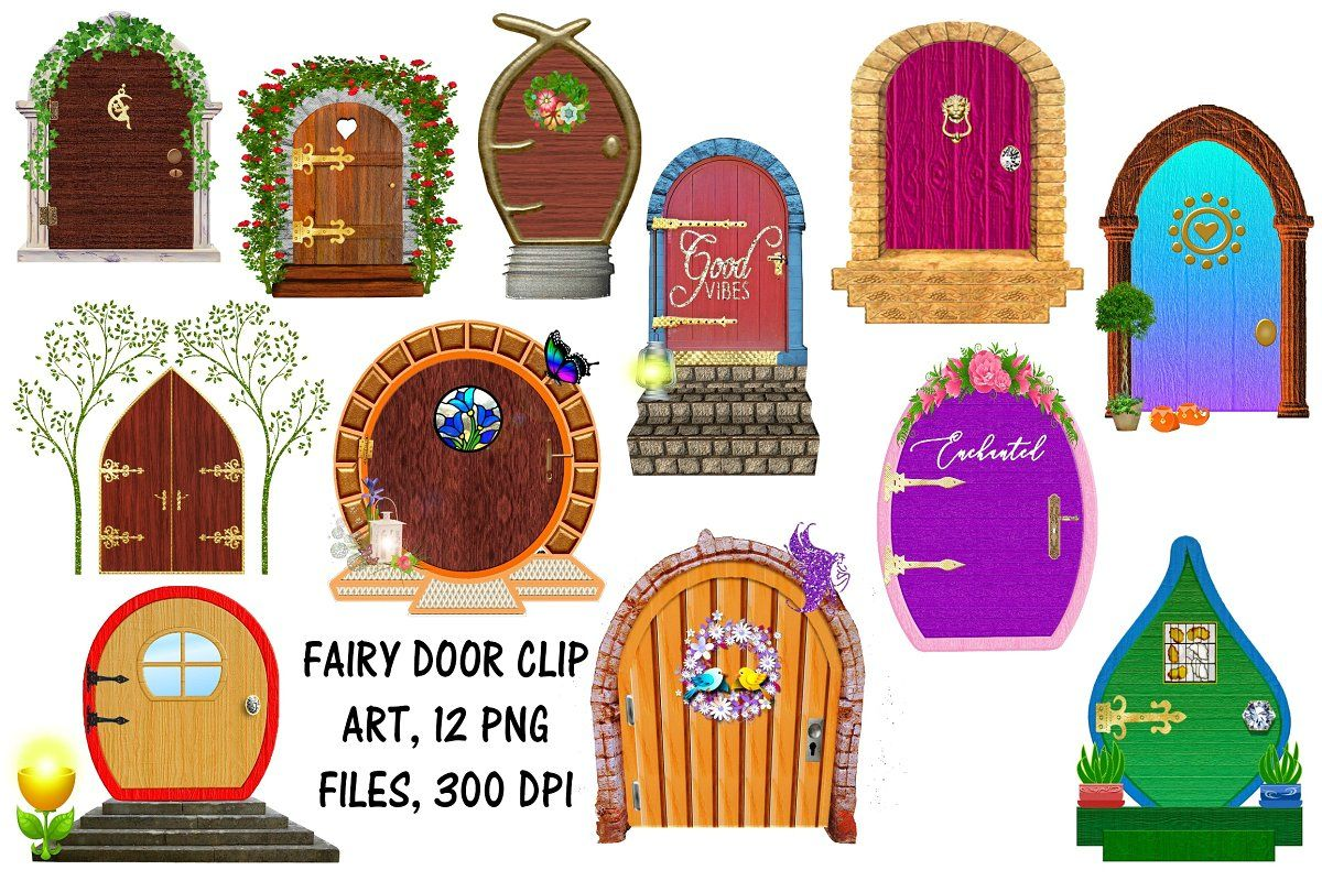 Fairy doors clip art creative market clip art and graphics