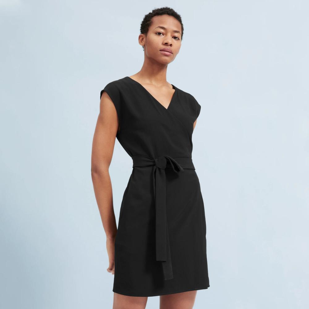 Women S Japanese Goweave Short Sleeve Mini Wrap Dress Everlane Womens Wrap Dress Wrap Dress Mini Wrap Dress [ 1000 x 1000 Pixel ]